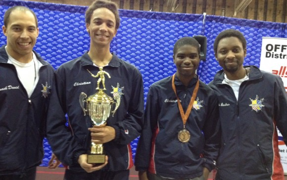 New Jersey SYC Y14 MS, Christian Fernandes, Gold, Christopher Walker, Bronze; Coaches David Douville and Terrence Lasker.